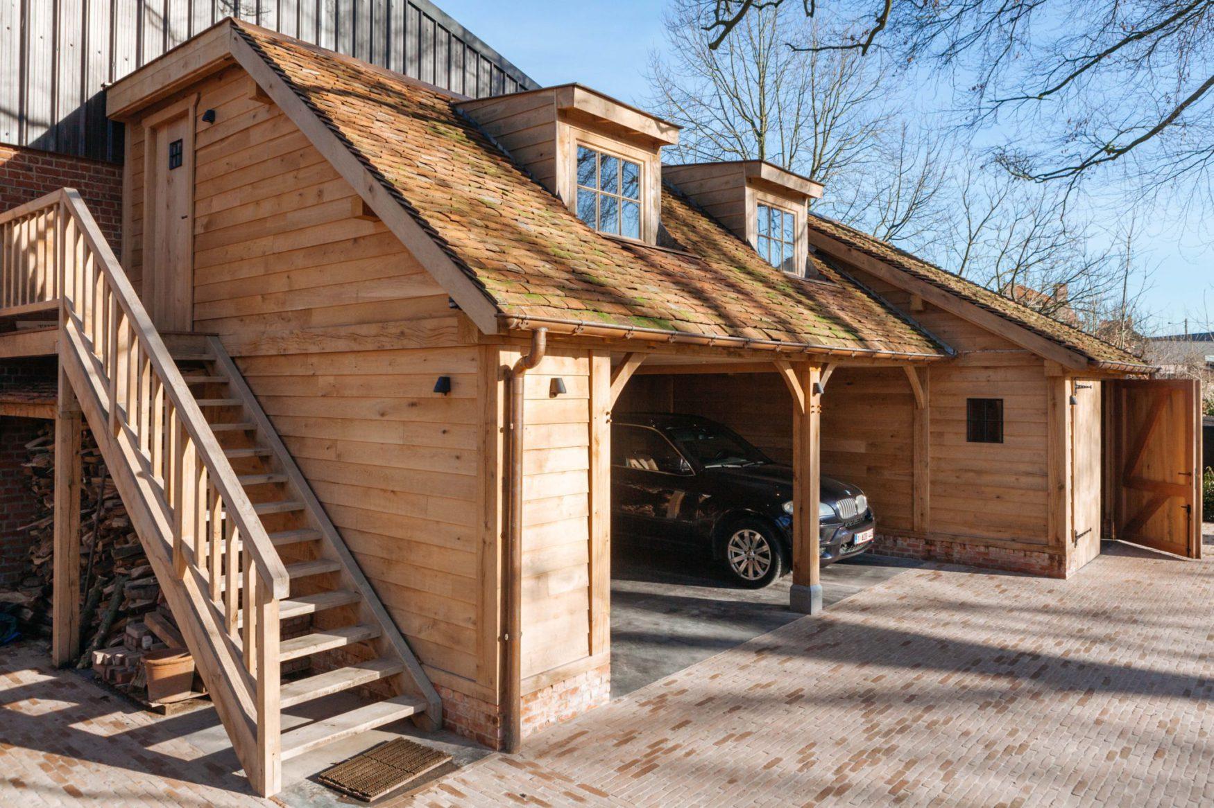 eiken carport met guest house ref jn ec03 vanhauwood