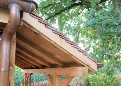 Vanhauwood - eiken poolhouse bourgondische tegelpannen en staalraam 7