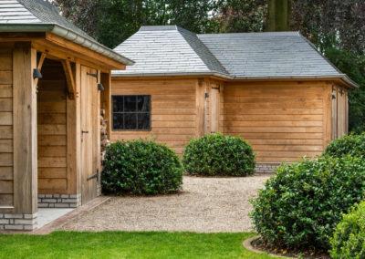 Eiken tuinberging en garage met natuurleien (Ref. Zomergem)